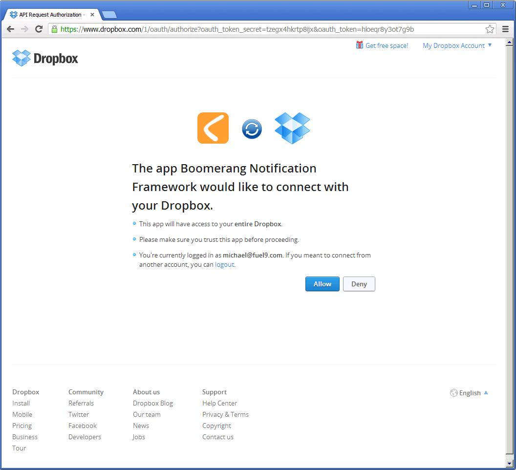 Configuring Dropbox | Boomerang Notification Framework